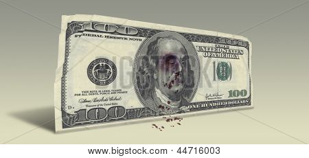 US Hundred Dollar bill with Beaten Ben Franklin
