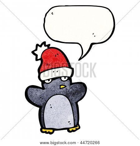 cartoon penguin wearing hat poster