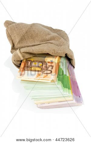 bills in a bag, photo icon for savings, black money, bribery and corruption