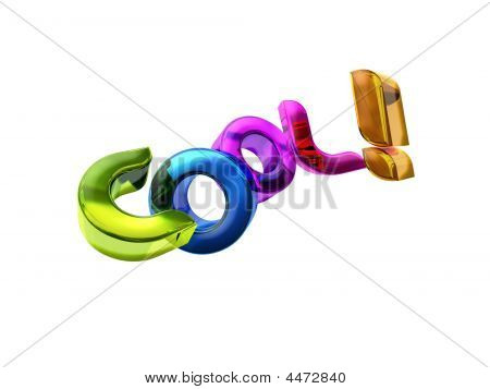 3D illustration of the word Cool! over a white background. poster