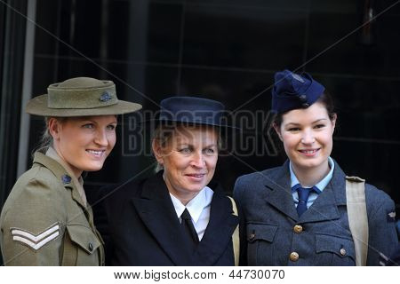 Brisbane, Australia - April 25 : Unidentified World War 2 Reenactors Pose During Anzac Day Commemora