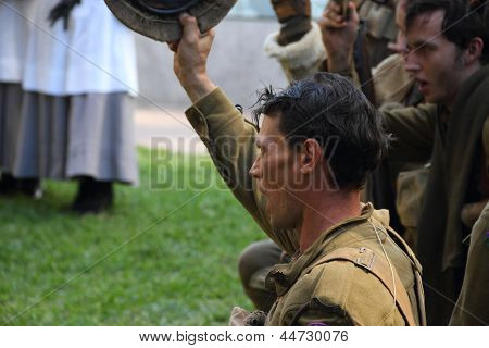Brisbane, Australia - April 25 : Unidentified World War 2 Reenactors Give Cheers During Anzac Day Co