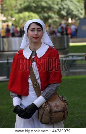 Brisbane, Australia - April 25 : Unidentified World War 2 Nurse Reenactor Poses During Anzac Day Com