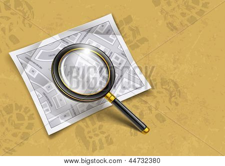 loupe magnifying glass tool with map, loupe magnifying glass tool with map. Rasterized illustration. Vector version also available in my gallery.