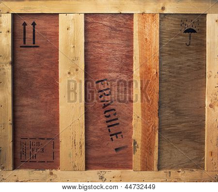 Wooden Box With Fragile And Freight Signs