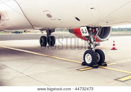 Landing Gear And Undercarriage Of A Jet Airplane, Parked