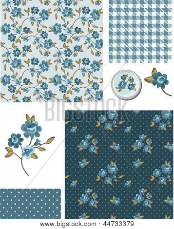 Shabby Chic Blue Rose Vector Seamless Patterns. Use as fills, digital paper, or print off onto fabric to create unique items.