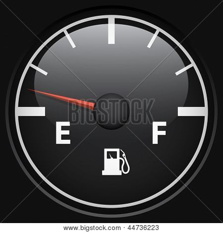 Black fuel gage isolated on black background vector template.