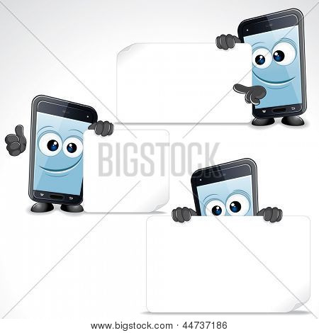 Set of Funny Cartoon Smartphone. Mobile Phone with Blank Sign and Thumb Up, Vector Clip Art