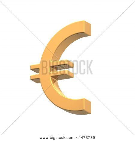 Gold Euro Sign Isolated On White