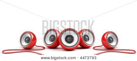 Red Stylish Stereo System With Cables