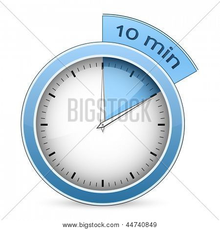 Blue timer. 10 minutes. Vector illustration
