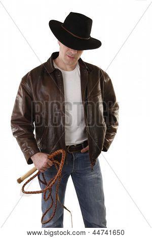 Adventurer treasure hunter with bull whip