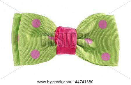 Dotted bow tie green with pink spots