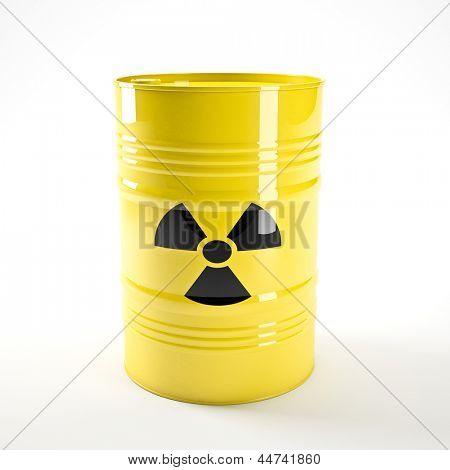 3d image of yellow radioactive barell