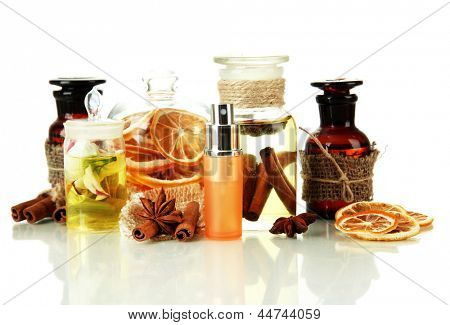 Bottles with ingredients for the perfume, isolated on white