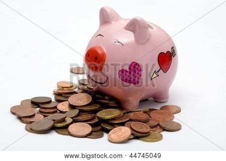 Pink Piggy Money Box On Coins