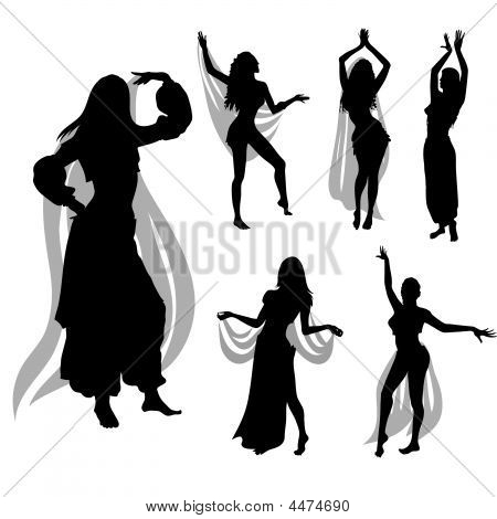 Set of woman silhouette dancing Belly dance poster