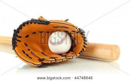 Baseball glove, bat and ball isolated on white