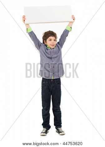 Portrait Of Boy Holding Placard Isolated On White Background