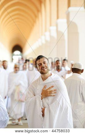 Muslim pilgrim in Makkah poster