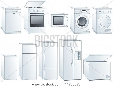 Kitchen home appliances: fridge, oven, stove, microwave, dishwasher, washing machine, dryer. Vector illustration