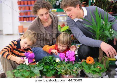 Family In Flower Shop