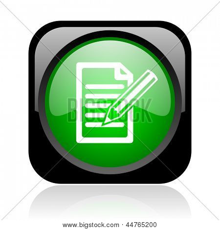 subscribe black and green square web glossy icon