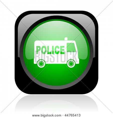 police black and green square web glossy icon