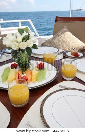 Breakfast Table On Yacht