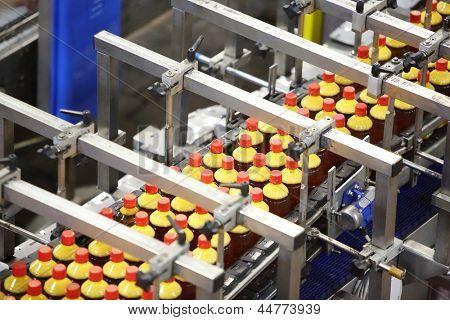 Top view of conveyor with bottles with fresh light beer in modern beer factory.