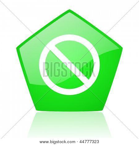 access denied green pentagon web glossy icon