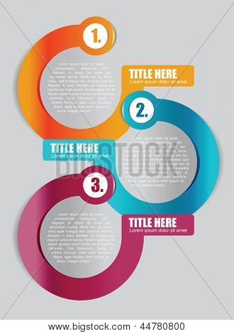 Abstract vector color background with three step scheme for brochure or flyer
