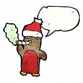 cartoon christmas robin smoking cigarette poster
