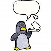 cartoon penguin smoking cigarette poster