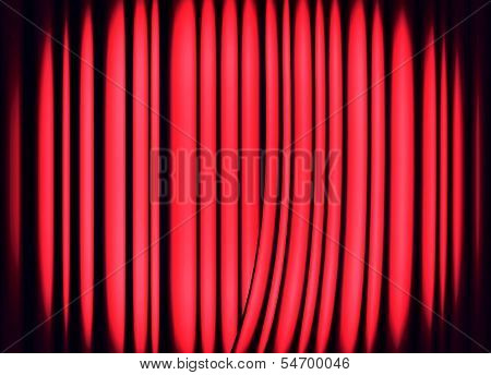poster of Red curtains on theater or cinema stage as background