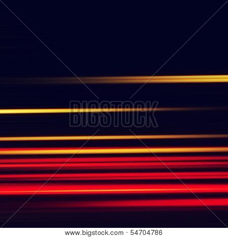 Abstract image of car light trails at dark. poster