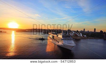 Luxury Cruise Liner Arriving At Sydney Circular Quay Australia