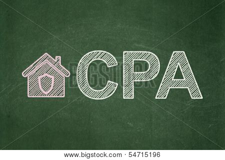 Business concept: Home and CPA on chalkboard background