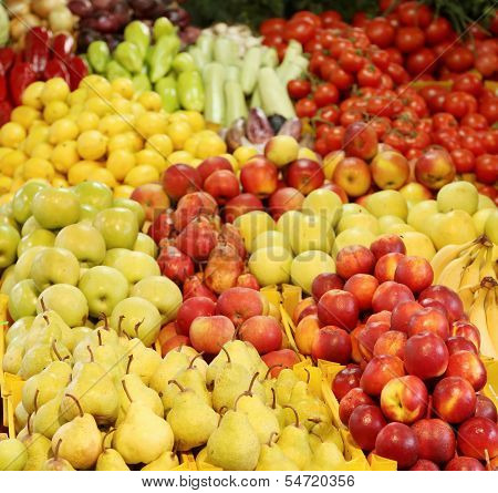 Background of different fruit and vegetables.