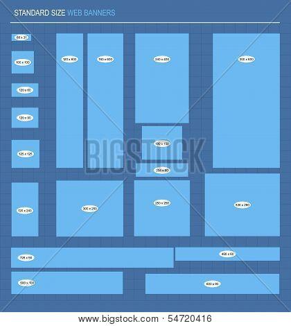 Set standard size web banners, vector