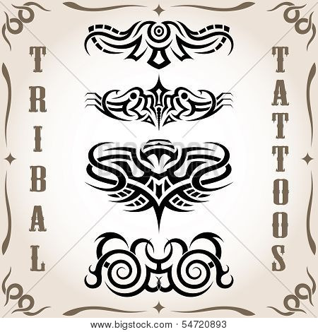 Set of tribal tattoo including