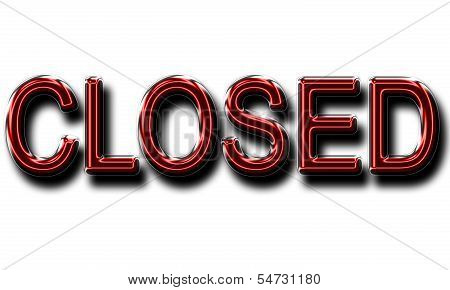 A Glowing Closed Sign In Red