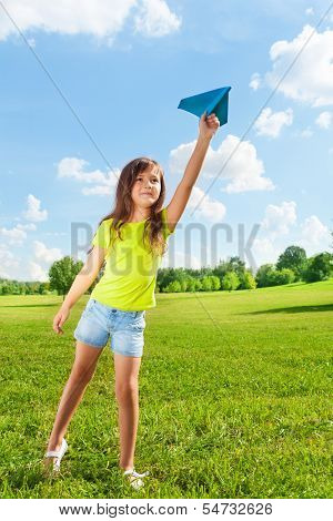 7 Years Old Girl With Paper Plane