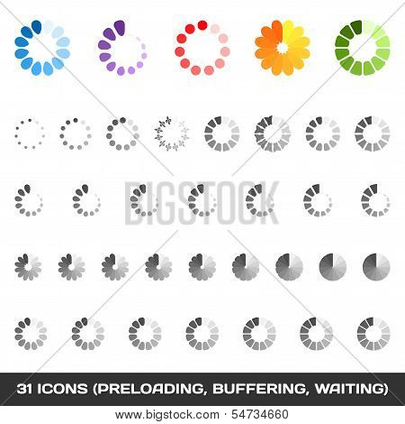 Loading And Buffering Icon Set. Preloaders. Vector