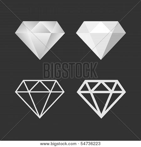 Diamond Icon And Emblem Set. Vector
