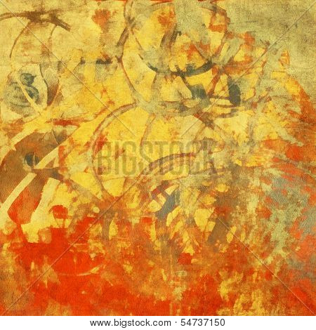art abstract watercolor background in yellow, orange, rea and light green colors