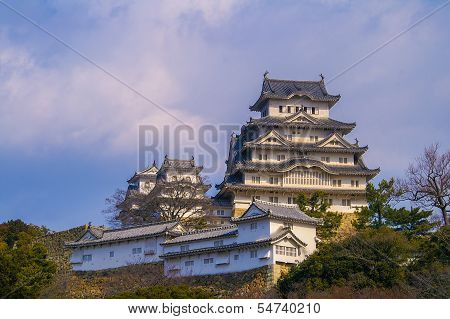 Ancient Samurai Castle of Himeji with Blue Cloudy Sky. Japan. poster