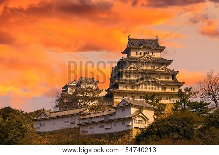 Ancient Samurai Castle of Himeji with Dramatic Sky during Sunset. Japan. poster