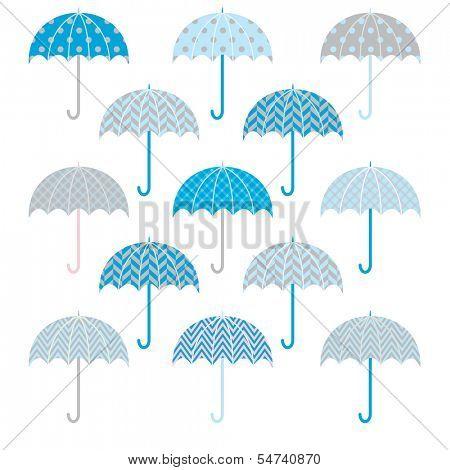 Cute Bue Grey Umbrellas pattern